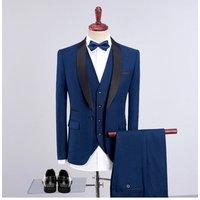 Elegant One Button 3 Pieces Wedding Suits Groom Tuxedos Men Suit
