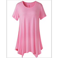 Ready to ship Women Basic Short Sleeve Longline Asymmetrical Loose Tunic Top