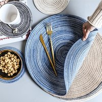 Kitchen Dining Table Decoration Round Weave Circle Heat Vinyl Braided Pads Place Mats Woven Cotton Yarn Placemats Coaster
