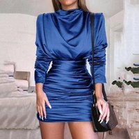 New OEM Stunning and Sexy Fashion Womens Dress V-Neck Party Bodycon Tunic long sleeve dress