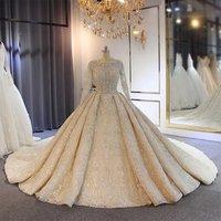 Amanda Novias Hot Sale Wedding Dress 2019 Full Lace Beading Luxury Sparkling Wedding Gown