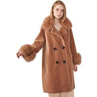 New European Wholesale Winter Shearling Jacket Custom Warm Teddy Coat Women with Fox Fur Collar High Quality Real Sheep Fur Coat