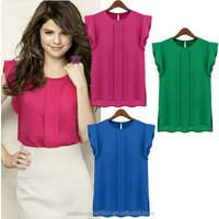 Instyles ladies summer Casual Blouse Candy Color Loose Leisure Chiffon Short Tulip Sleeve Blouse Tops ZT001201 b Clothing