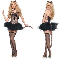 Halloween Costumes Women Leopard Print Corset Black Tutu Skirts Cat Dress Girl Sexy Cat Girl Cosplay Costumes XQ1272