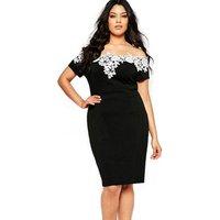 Lace Crochet Off Shoulder Black Pencil Plus Size Dress