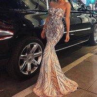 Summer Shiny diamonds sequin rhinestone off shoulder Prom Dresses Mermaid Evening Wear Vestidos tube crystals dress