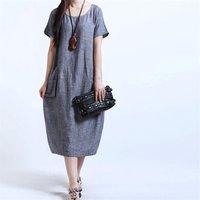 Long Casual Loose Linen Dress for Women in Stock