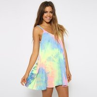 Women Summer Beach Wear Rainbow Pattern Mini Dress Sleeveless Tie Dye Tunic Tops Casual Swing Tee Shirt Dress