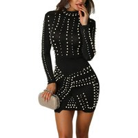 XM420  Wholesale Long Sleeve Beaded Dresses Evening Party Bodycon Dress For Women