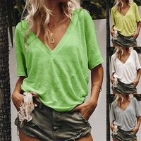 2019 Summer T Shirt Large Sizes Women T-shirt Solid V Neck Short Sleeve Rounded Hem Casual Top Female Tunic