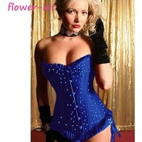 Overbust girl body slim shaper, women lace sexy blue flame corset