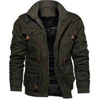 Men Thermal Casual Fleece Lined Bomber Jacket Military Tactical Winter Coat Multi-Pocket Jacket
