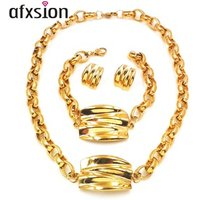 Afxsion charm shell pattern jewelry plating 18k gold stainless steel earrings pendant bracelet