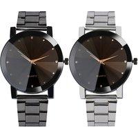 Hot Sales Fashion Simple Dial Women Casual Watches Alloy Metal Bracelet Dress Crystal Design Men Quartz Watch