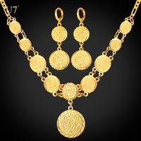 U7 Ethiopian Jewelry Dubai Gold Plated necklace earrings set For Women Gift Antique gold Coin jewelry sets