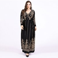 Wholesale luxury black maxi long sleeve women wrap evening dresses plus size