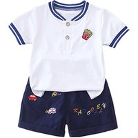 Summer short sleeve Two Pieces T-shirt pant Child suit outfits baby boys clothes set
