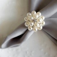 make decorative ivory white pearl flower napkin holder ring