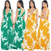 Summer Women Sexy Casual V Neck Leaf Printed Bandage backless  Maxi Dress Evening Dress