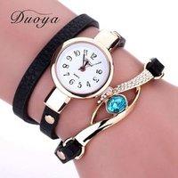 Duoya Brand Watch Women Luxury Gold Eye Gemstone Dress Watches Women Gold Bracelet Gift Leather Quartz Wristwatches