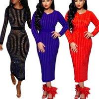 S-3XL Women Pencil Dress Black Red Blue Fashion Slim Fit Diamonds Elegant O Neck Long Sleeve Sexy Long Maxi Dress Party EY147-0