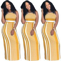 A070004 summer sleeveless one piece casual bodycon striped maxi dress for woman