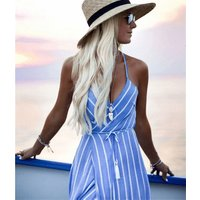 New Women Summer Dress Boho Maxi Long Striped Halter Evening Party Beach Dresses Sundress Irregular Bohemian Holiday Dress