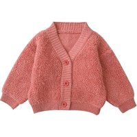 H3856/ Hot Sale Autumn High Quality Wool Knitted Cardigan Sweater for Girls