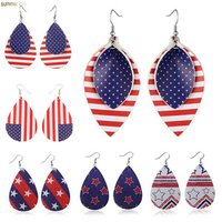 'New Arrival 2019 Fashion American Flag Teardrop Leaf Charm Faux Leather Sport Dangle Earrings For Women Independence Day Gifts