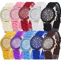 Hot Sales Geneva Brand Silicone Women Watch Ladies Fashion Dress Quartz Wristwatch Female Watch