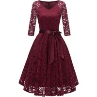 Elegant 3/4 sleeve A-line lace party prom evening dress for ladies