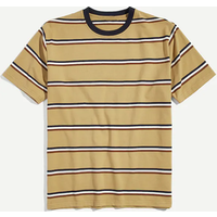 Wholesale custom short sleeve cotton striped t shirt for men