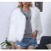 Popular short coat ostrich feather faux fur solid color jackets