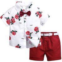 Summer Kids Clothes Boys Clothing Sets Causal Short Sleeve Printed Rose Shirt Mid-Rise Pants Children Clothes Set For Boys