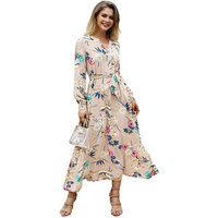 Woman Fashion Floral Printed Long Sleeve Sexy Casual Fall Autumn Winter 2019 lady Sexy Woman Maxi Long Dress