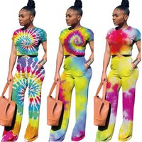 P1057 colorful rainbow printed crop top and pants 2 piece set outfit women summer fashion clothing
