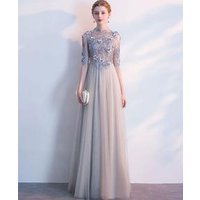 2019 New Evening Gowns Sequined Tulle Long Evening Party Dresses