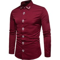 Custom New Red Embroidered Mens Long Sleeve Cotton Shirt