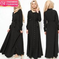 9044# High Quality Latest Fashion Women Black Kaftan  Long Sleeve Muslim Dresses For Islamic Clothing Abaya