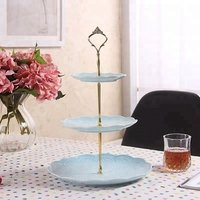 3 tier cake plate stand ceramic candy dessert tray porcelain service dishes plate tea party pastry serving platter