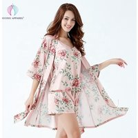 Floral Printed Silk Robes Women Satin Kimono Pajamas