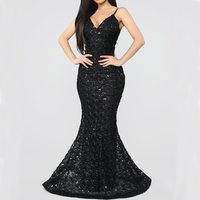 Wholesale women sexy backless black long maxi evening dress party wear formal gowns