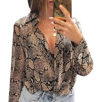 Women Casual New Style 2019 Loose Blouse Button Long Sleeve Snake Printing Shirts Blouses
