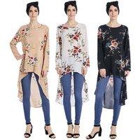 2017 abaya tunics fashion muslim blouse ,Women Flower printed muslim tops,Singapore trendy Islamic Blouse