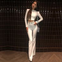 2019 New Summer Women Club Bandage Sets Vestidos White TopsandPant 2 Two Pieces Set Night Out Celebrity Evening Party Sets