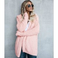 Ecowalson Fashion Women Jacket Overcoat Winter Loose Open Stitch Hooded  Cardigan Coats Ladies Casual Pockets Outwears