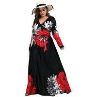 Womens v-neck slit long sleeves lacing waist print beach plus size dresses maxi dress