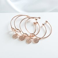 Rose Gold Bracelets for Women 26 Initial Letter Pendant Bangles Heart Tie Knot Opening Cuffs Love Bangle Jewelry