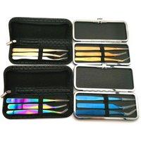 Wholesale eyelash extension tweezers kit custom curved volume lash tweezer sets tools