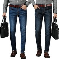Jeans Mens Brand High Quality Stretch Blue Denim Jeans Fashion Pleated Pocket stock Trousers Pants elastic